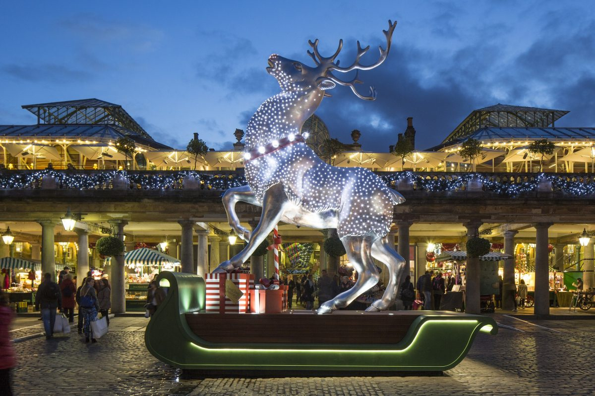 Silver Reindeer, East Piazza, Christmas Decorations, Covent Garden
