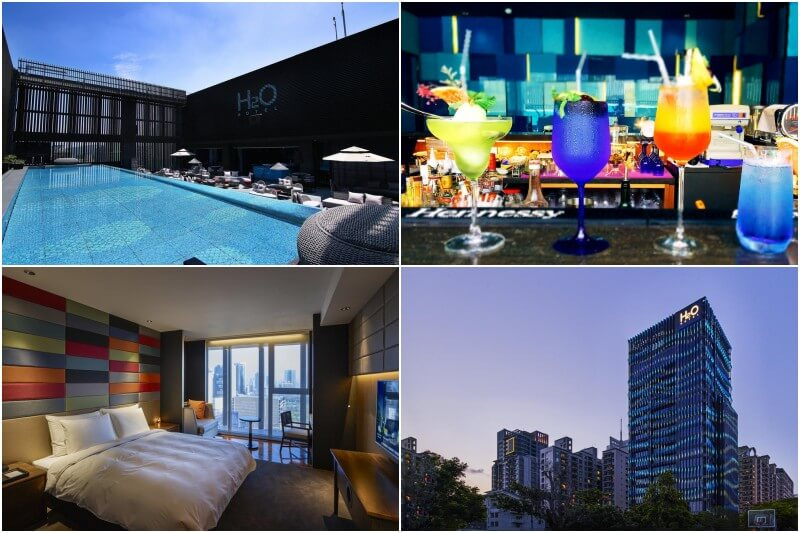 boutique hotel H2O in Kaohsiung with bar and pool.