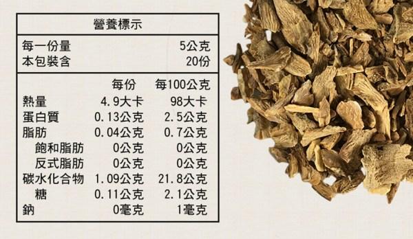 牛蒡茶營養標示