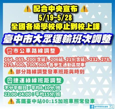 2021 05 18 201043 - 因應全國性停課,台中捷運綠線、公車5/19起調整車班