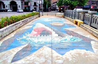 2021 07 14 104518 - 小心腳下大嘴鯊!台中最新免費景點,海豚鯊魚和鸚鵡老鷹3D彩繪海空地景,近文心路北平路上