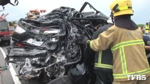 The mangled wreck of an SUV after a fatal car accident