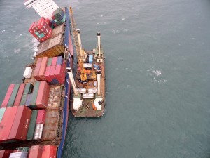 A platform set up to salvage oil from a stranded ship that is breaking up on Taiwan's north coast
