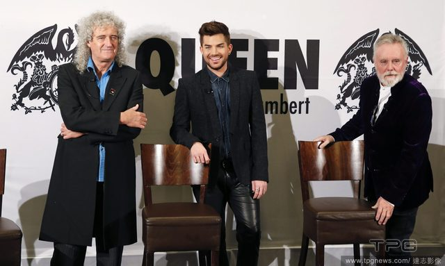 Current members of Queen Brian May, Roger Taylor, and Adam Lambert