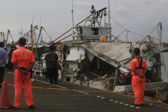 a fishing boat damaged by a missile accidentally fired during a drill
