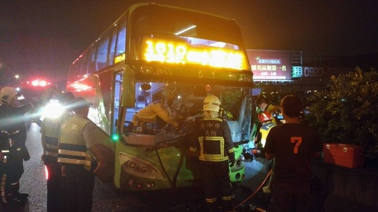 a coach that crashed on national highway Taiwan August 11