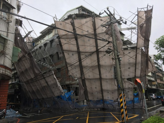 collapsed scaffolding Keelung City Typhoon Megi