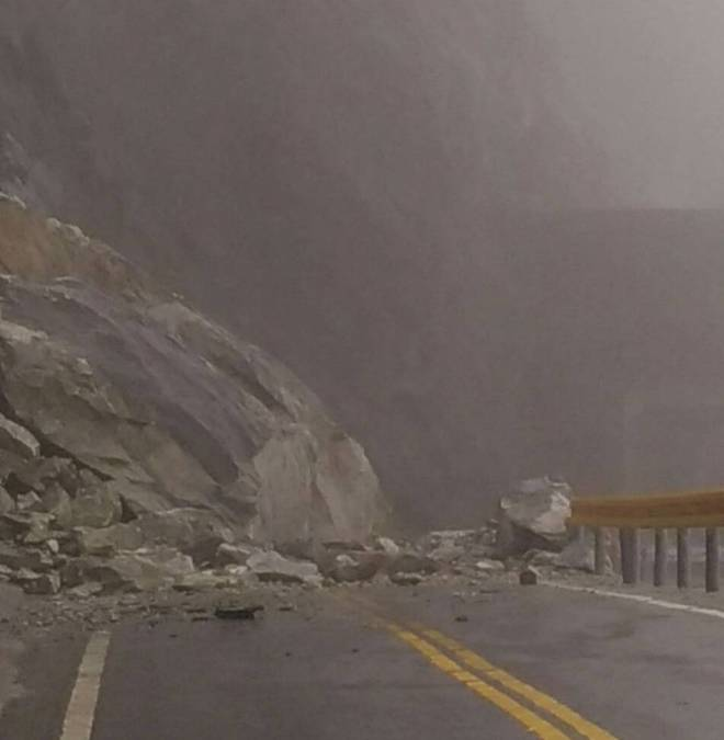 a rockfall on the Central Cross-island Highway at the entrance to Jinma Tunnel