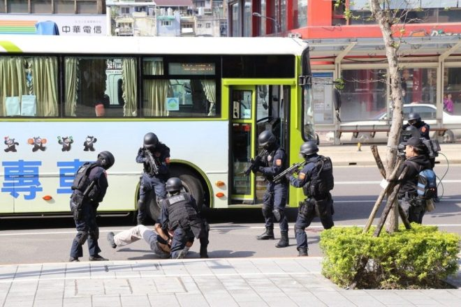 SWAT team Taiwan subdues suspected terrorist in simulated anti-terror drill