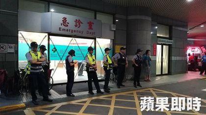 police block entrance of emergency ward