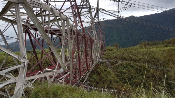 collapsed electricity transmission tower