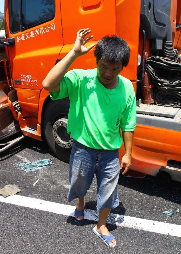 truck driver wearing blue flip-flops