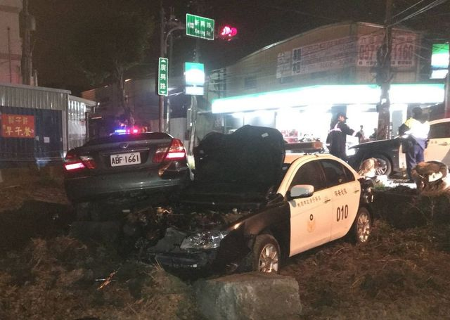 police car and suspect's car after crash
