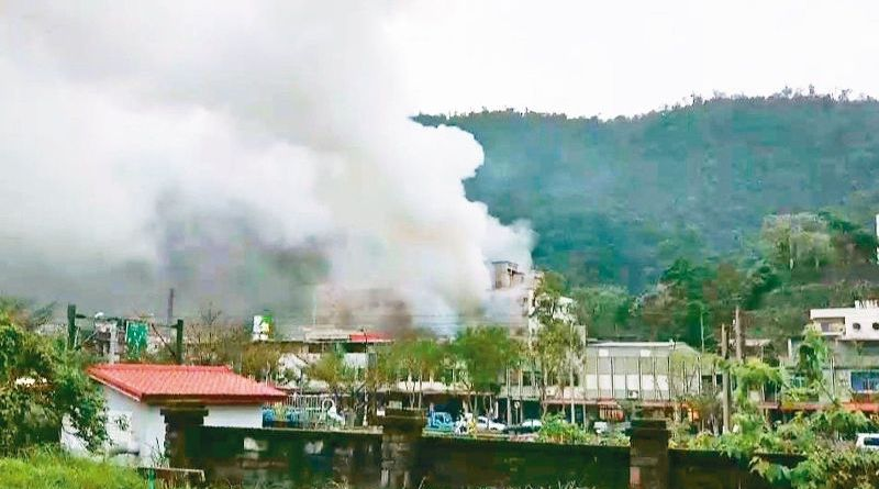 smoke is seen rising after a gas explosion and fire in Yilan County
