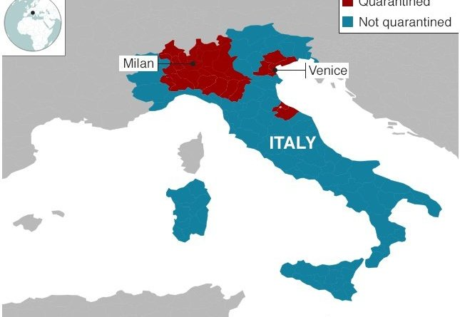 map of quarantined areas of Italy