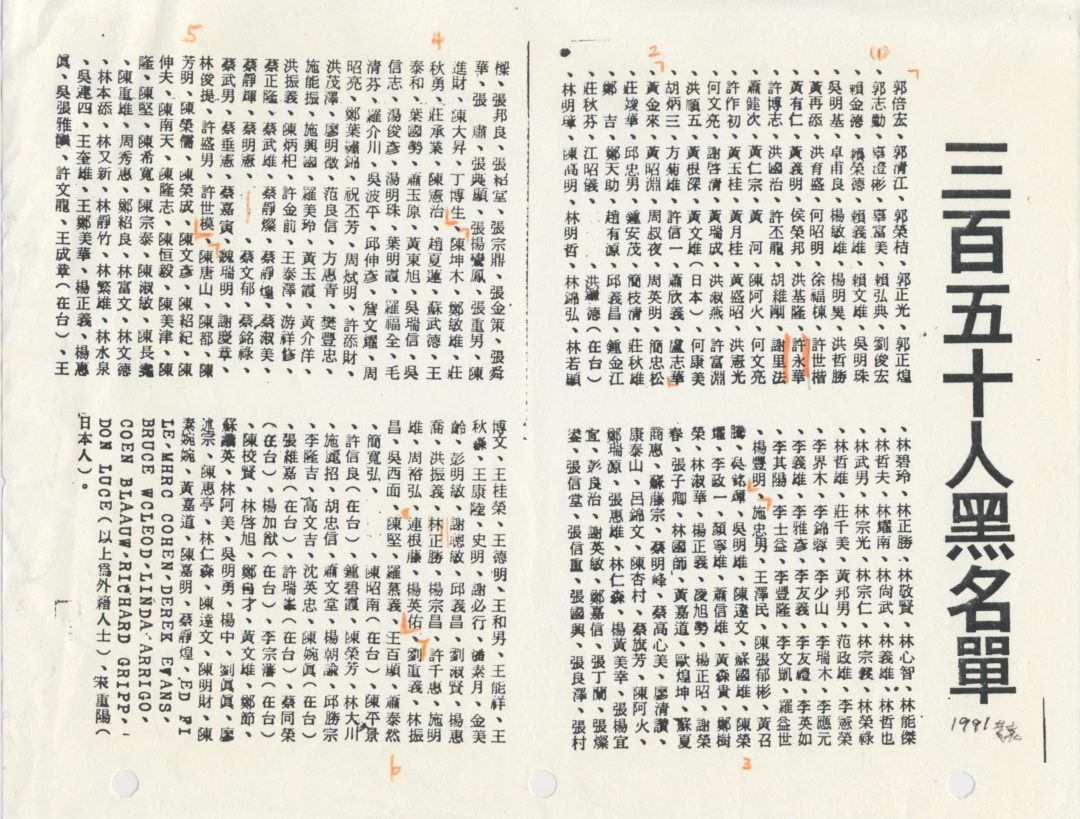 36. 黑名單   History of Taiwanese American (T.A. Archives) 臺美史料中心