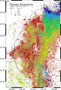 Taiwan seismicity 國內地震震源長年統計圖 1