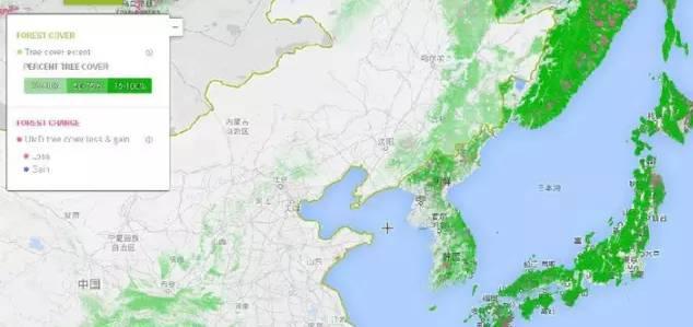 華北華東地區森林分佈地圖