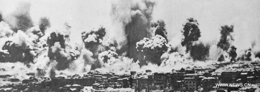 日本軍隊侵略中國城市與轟炸無辜民眾。