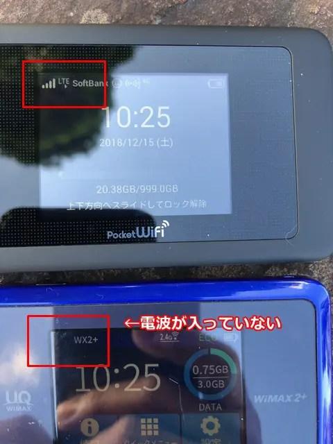 モバイルWi-Fi屋外電波の入り具合