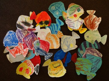fishes for the intercesions - also our refugees helped with the preparation of the ecumenical church festival