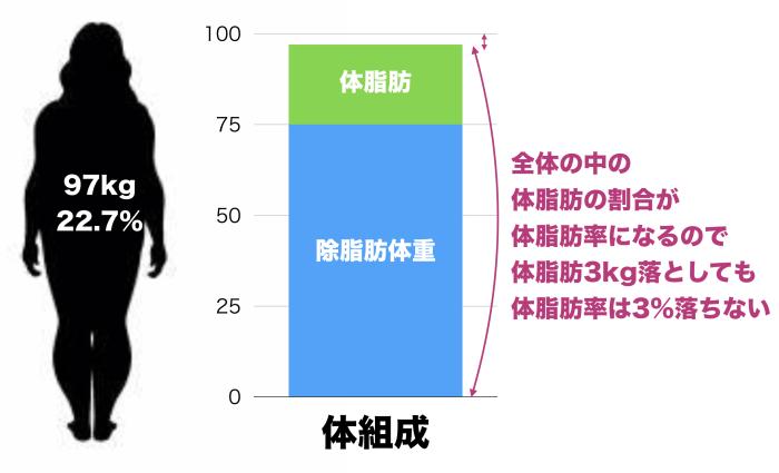 体重100kg体脂肪率25%の人が3kgの減量したときの体脂肪率