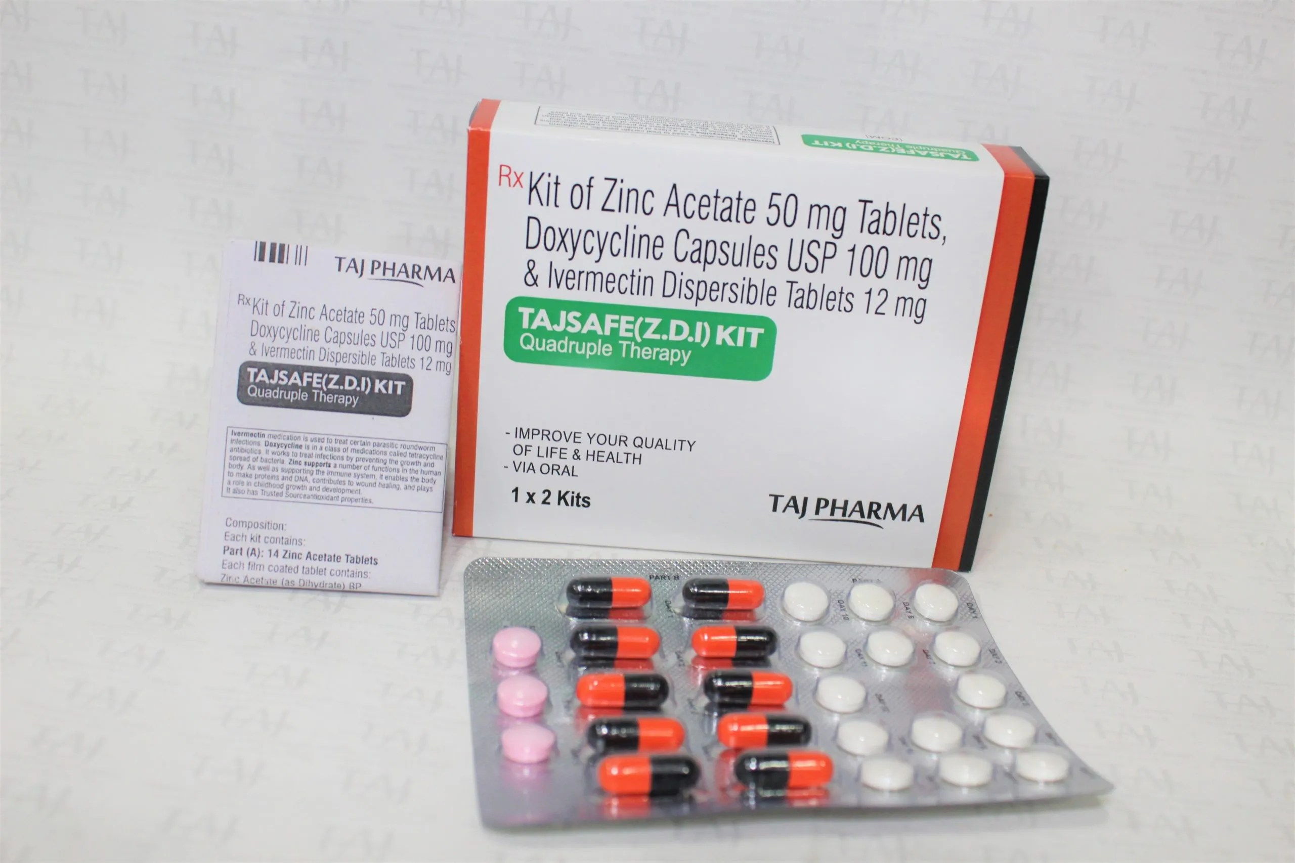 Taj Covi Safe Kit Contains Zinc Acetate 50 mg, Doxycycline 100 mg & Ivermectin 12 mg Dispersible Tablets
