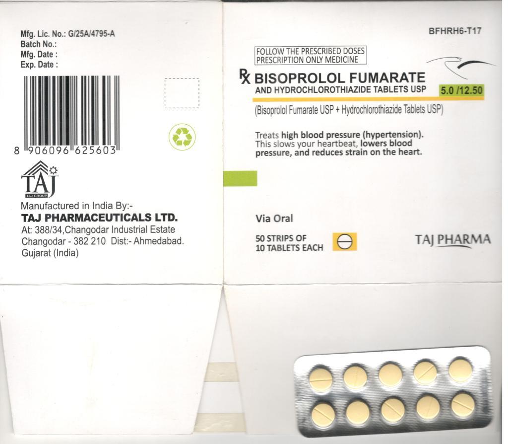 Bisoprolol Fumarate Hydrochlorothiazide 5mg 12.5mg Film Coated Tablets Taj Pharma Mumbai