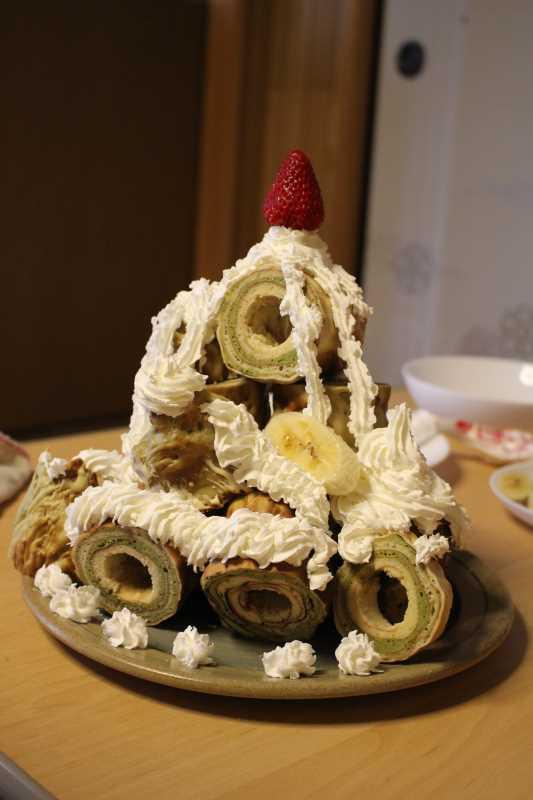 手作り抹茶バームクーヘンを「誕生日ケーキ城」にしてみた!これぞ新城!! (7)