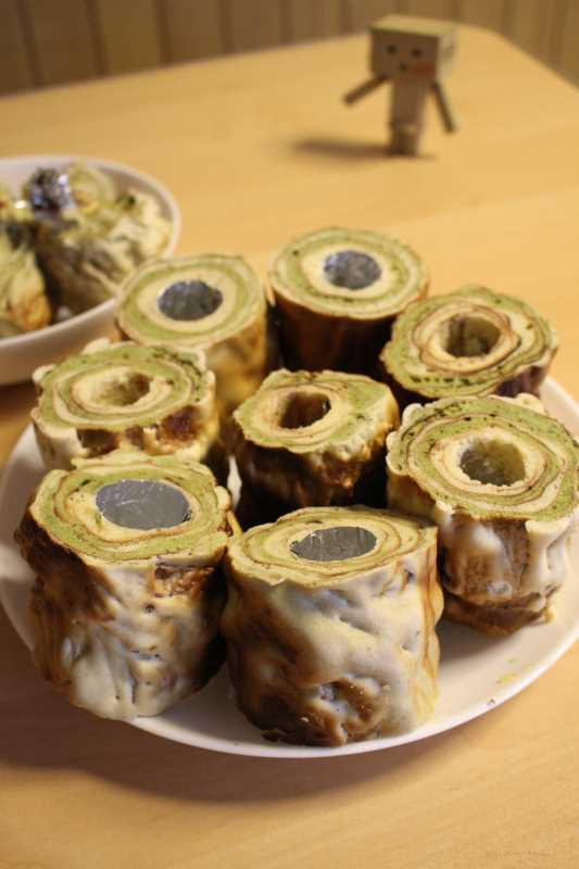 手作り抹茶バームクーヘンを「誕生日ケーキ城」にしてみた!これぞ新城!! (3)