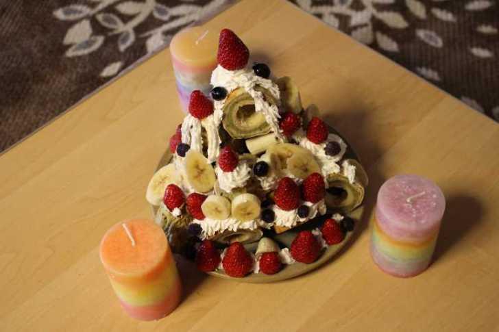手作り抹茶バームクーヘンを「誕生日ケーキ城」にしてみた!これぞ新城!! (11)