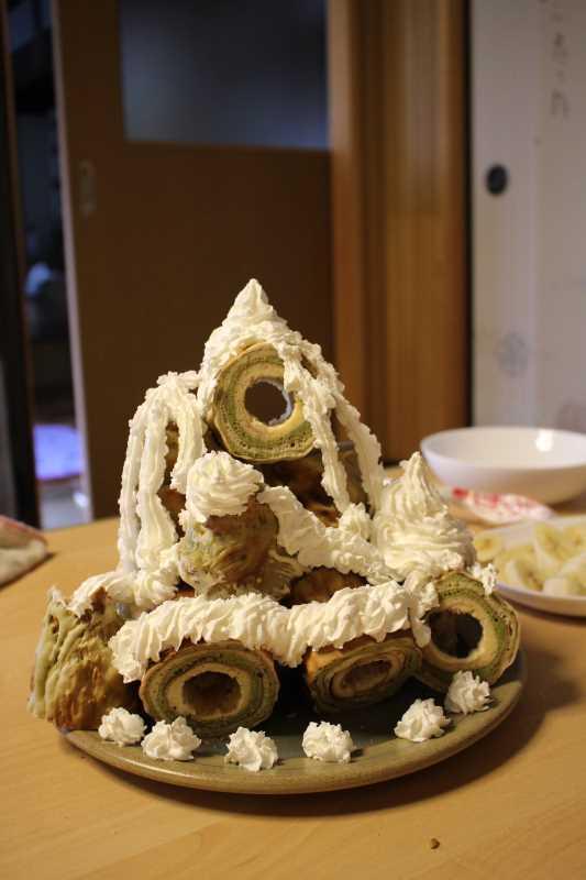 手作り抹茶バームクーヘンを「誕生日ケーキ城」にしてみた!これぞ新城!! (6)