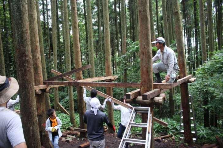 【ツリーハウスの作り方】ガンコ山の講習でセルフビルドしてきたよ! (10)