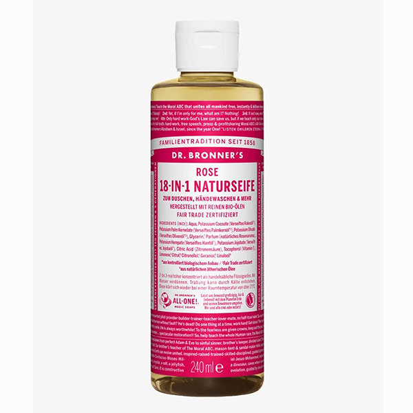 dr bronner hemp rose pure castile soap vegan 475ml