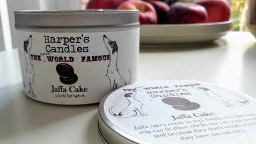 vegan geurkaars jaffa cake van Harper's Candles