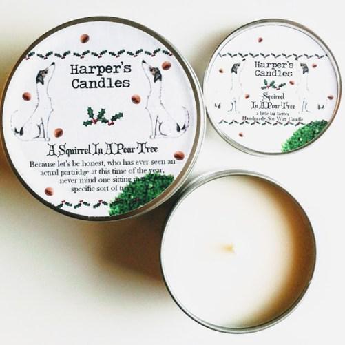 vegan kaars van Harper's Candles Squirrel in a pear tree