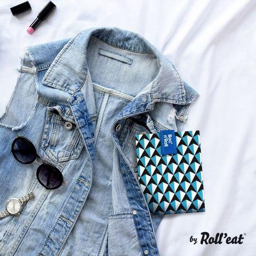 Roll'Eat - Boc'n'Roll Tiles - herbruikbare lunch wrap blauw