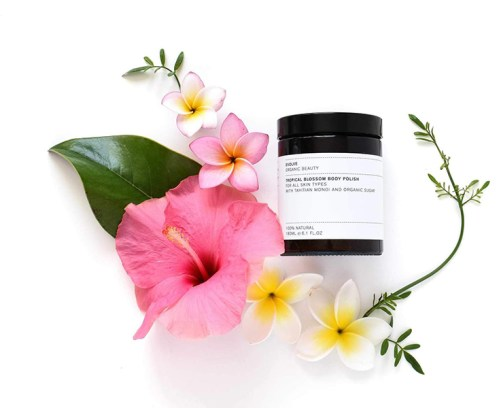 tropical blossom body polish Evolve Beauty 150ml