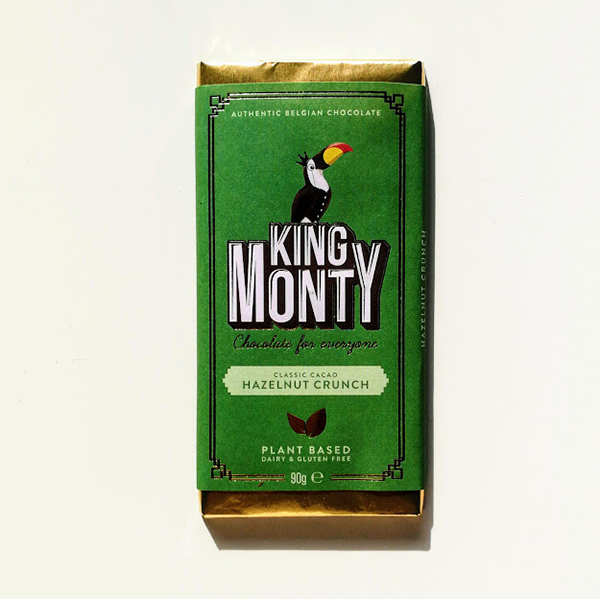 King Monty Hazelnut Crunch vegan chocolade 90gr