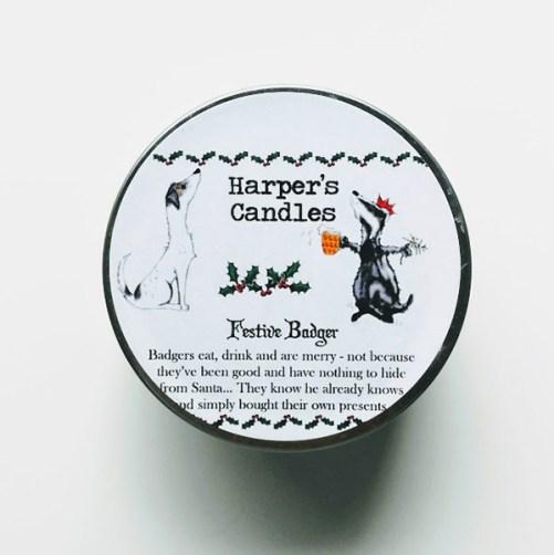 Harper's Candles Festive Badger