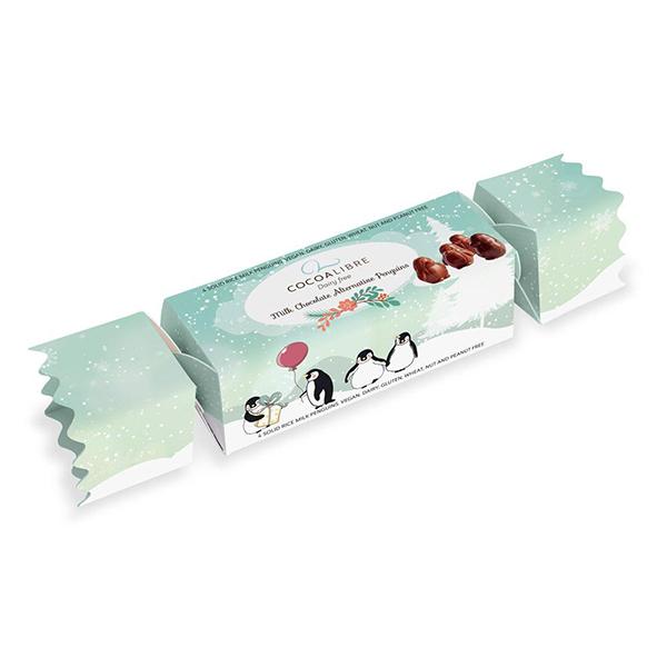 Cocoalibre Rice Milk Penguins vegan chocolade in een party cracker