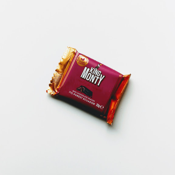 Purest Ecuador Snacking Size King Monty vegan chocolade 33gr