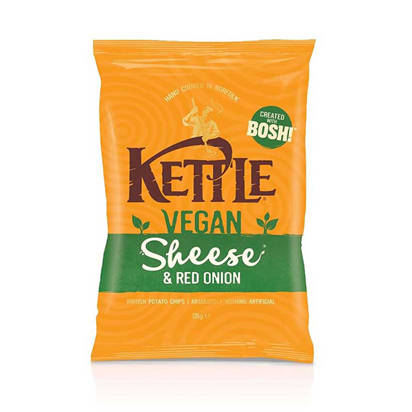 Kettle Chips Vegan Sheese & Red Onion vegan chips