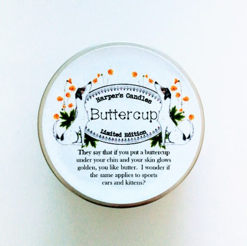 vegan geurkaars buttercup van Harper's Candles