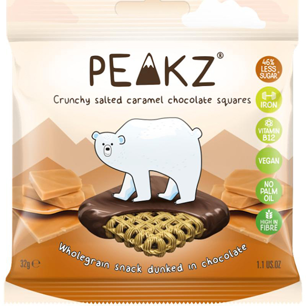peakz crunchy salted caramel chocolate squares vegan koekjes 32gr