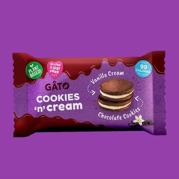 gâto choc vanilla cookies'n' cream 42gr vegan glutenvrij