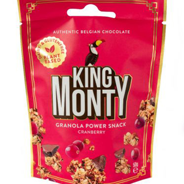 king monty granola cranberry 50gr vegan snack