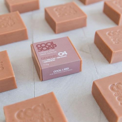 cool soap elements 04 vegan blok zeep met rode klei