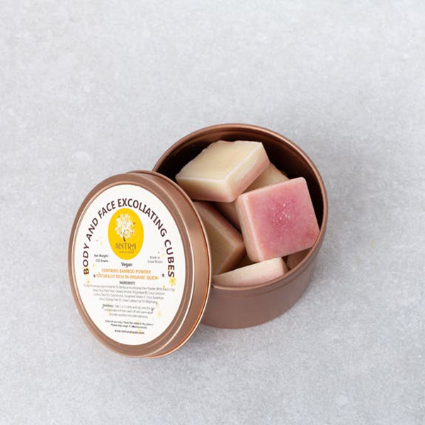 sintra naturals body & face exfoliating cubes zero waste scrub