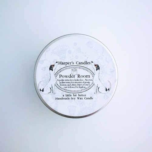 vegan geurkaars powder room van Harper's Candles